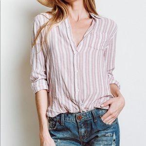 Rails Charli Bordeux Stripe Button Down Shirt Top